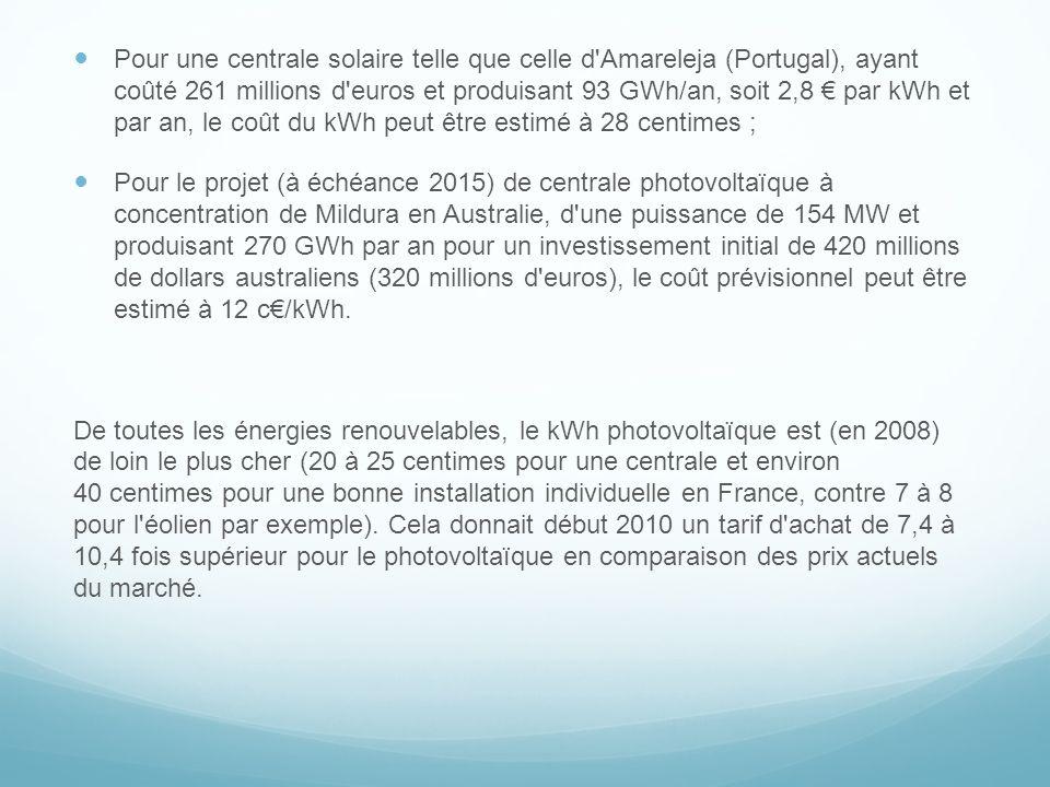 Pour une centrale solaire telle que celle d'Amareleja (Portugal), ayant coûté 261 millions d'euros et produisant 93 GWh/an, soit 2,8 par kWh et par an