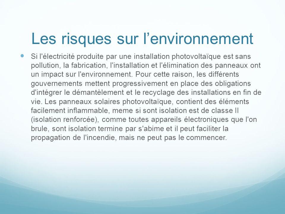 Les risques sur lenvironnement Si l'électricité produite par une installation photovoltaïque est sans pollution, la fabrication, l'installation et l'é