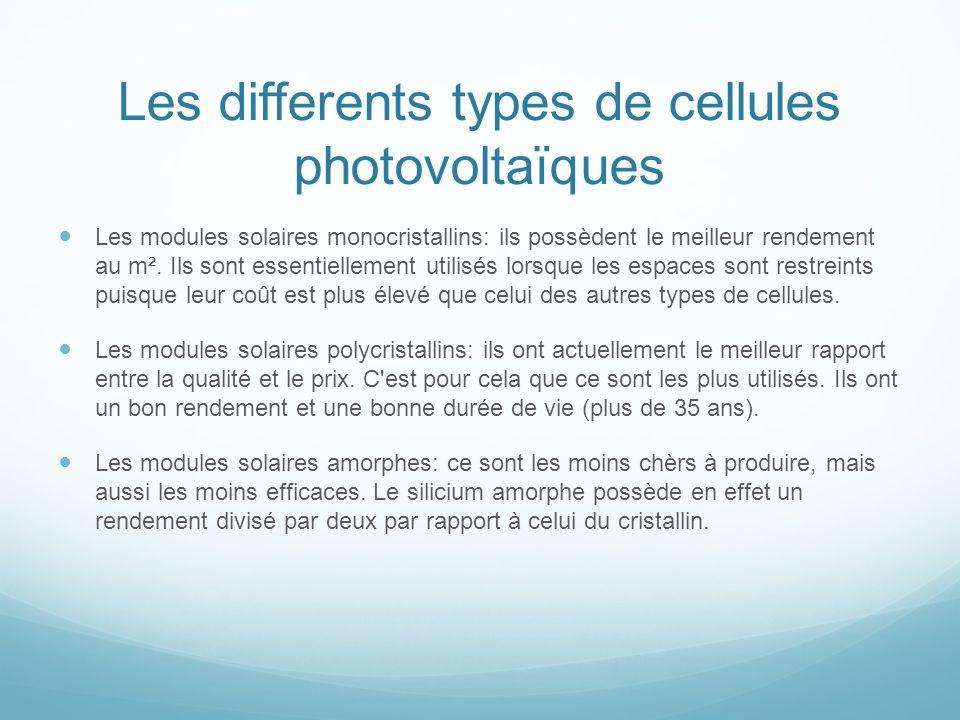 Les differents types de cellules photovoltaïques Les modules solaires monocristallins: ils possèdent le meilleur rendement au m². Ils sont essentielle