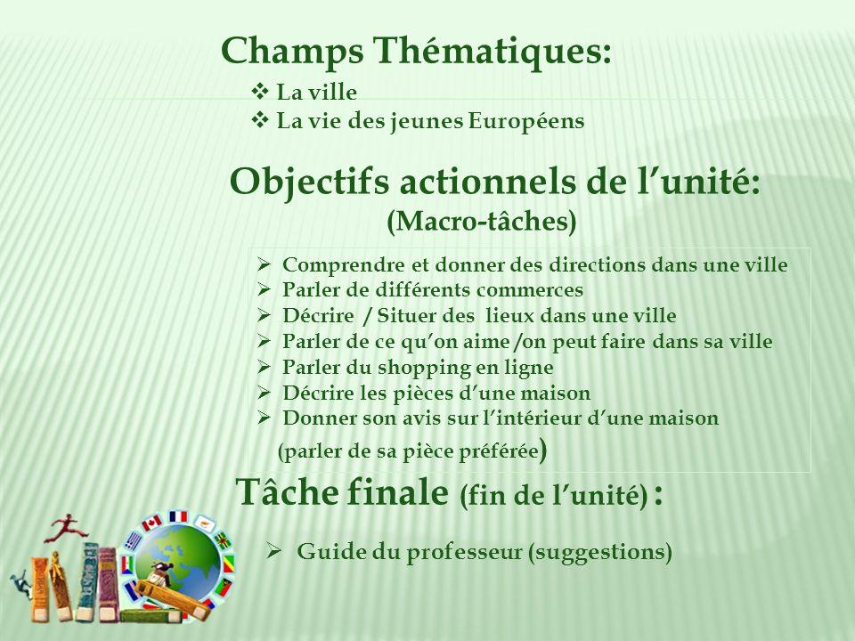 Champs Thématiques: La ville La vie des jeunes Européens Objectifs actionnels de lunité: (Macro-tâches) Tâche finale (fin de lunité) : Guide du profes