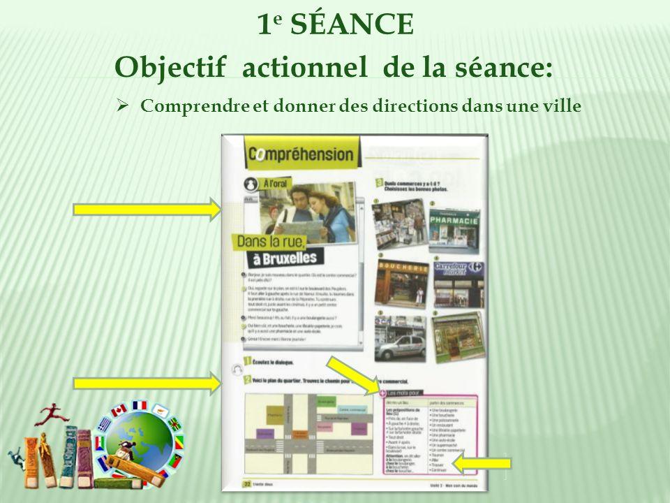 1 e SÉANCE Objectif actionnel de la séance: Comprendre et donner des directions dans une ville