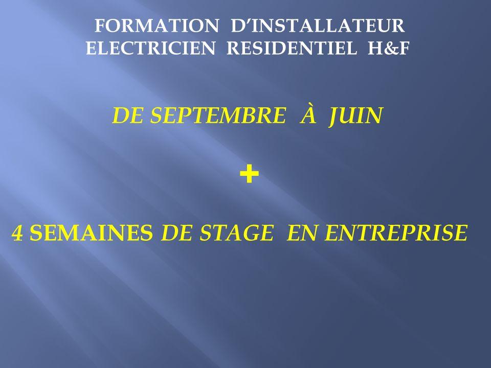 FORMATION DINSTALLATEUR ELECTRICIEN RESIDENTIEL H&F DE SEPTEMBRE À JUIN + 4 SEMAINES DE STAGE EN ENTREPRISE