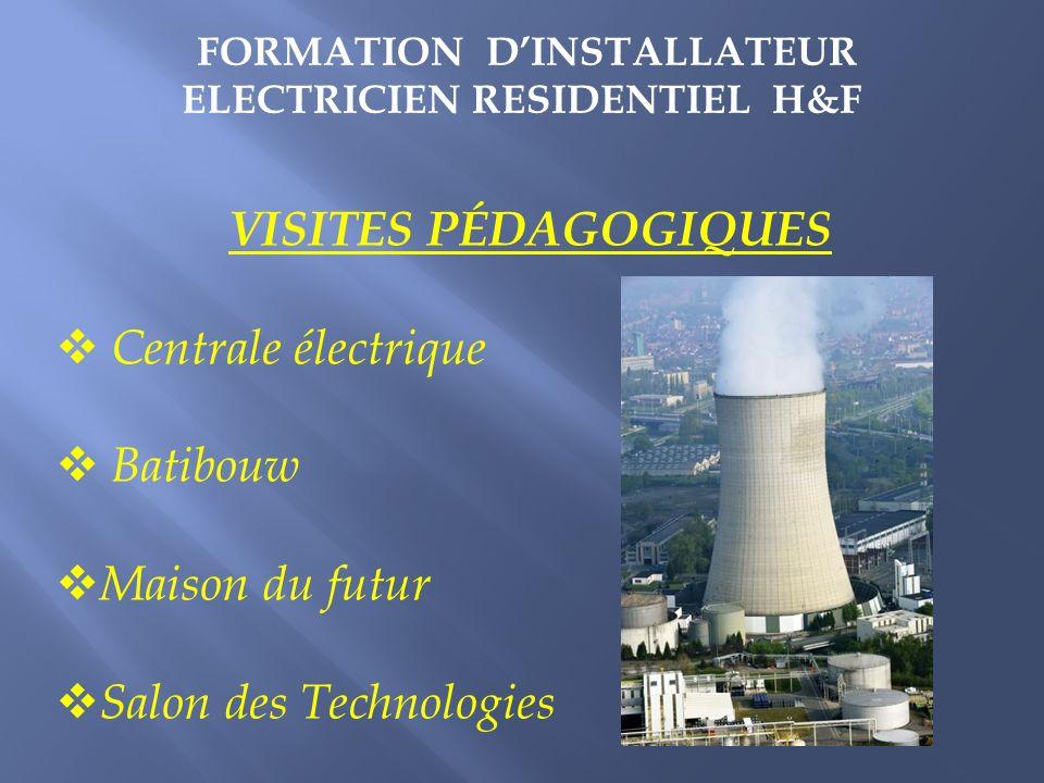 VISITES PÉDAGOGIQUES Centrale électrique Batibouw Maison du futur Salon des Technologies FORMATION DINSTALLATEUR ELECTRICIEN RESIDENTIEL H&F