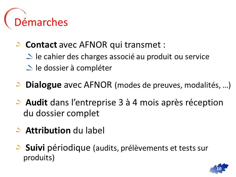 10 Contact avec AFNOR qui transmet : le cahier des charges associé au produit ou service le dossier à compléter Dialogue avec AFNOR (modes de preuves,