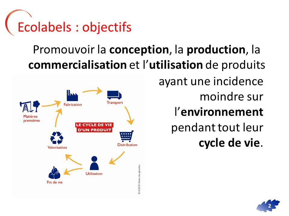 2 Ecolabels : objectifs Promouvoir la conception, la production, la commercialisation et lutilisation de produits ayant une incidence moindre sur lenv