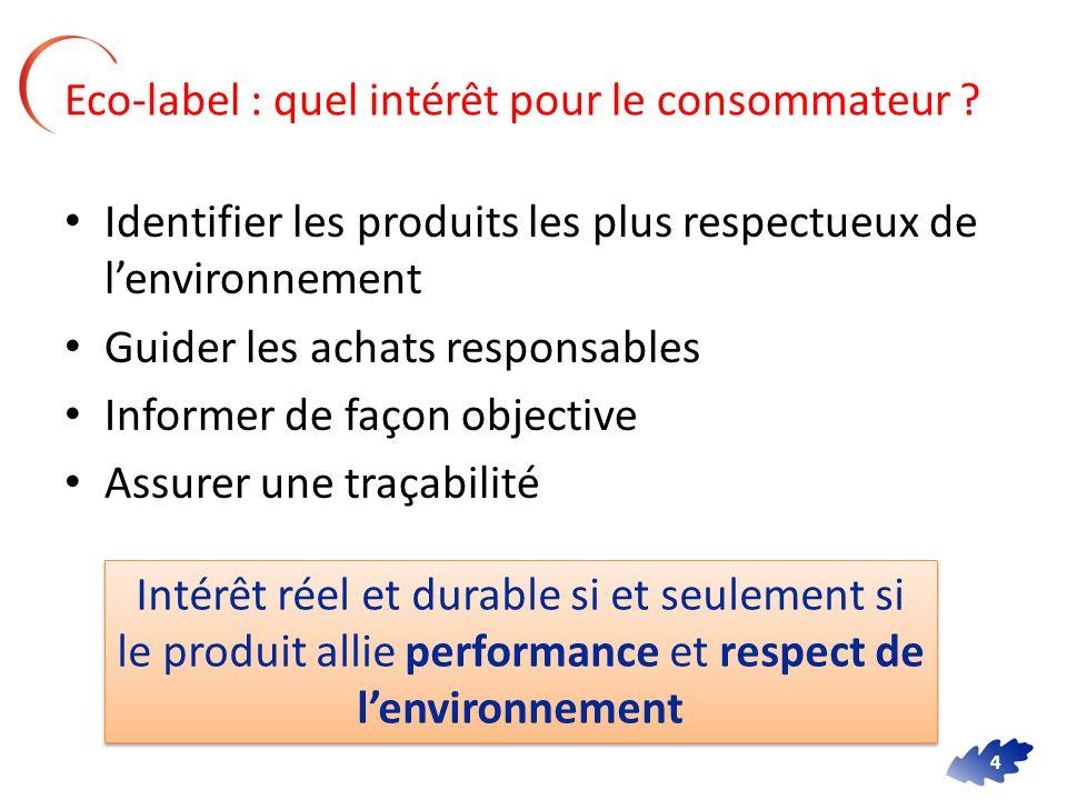 4 Eco-label : quel intérêt pour le consommateur ? Identifier les produits les plus respectueux de lenvironnement Guider les achats responsables Inform