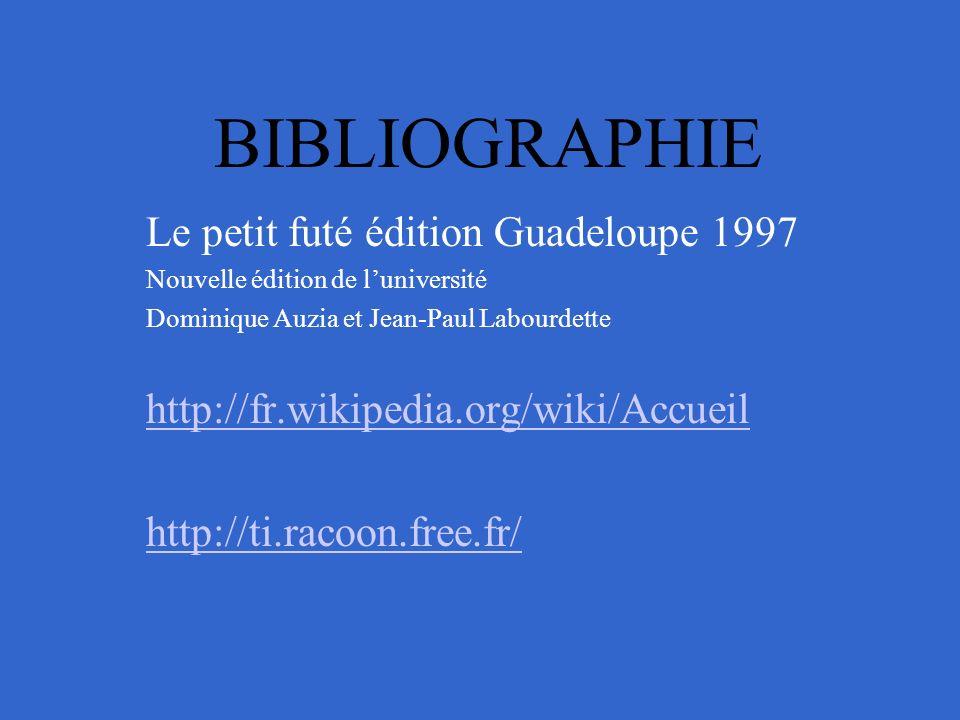 BIBLIOGRAPHIE Le petit futé édition Guadeloupe 1997 Nouvelle édition de luniversité Dominique Auzia et Jean-Paul Labourdette http://fr.wikipedia.org/wiki/Accueil http://ti.racoon.free.fr/
