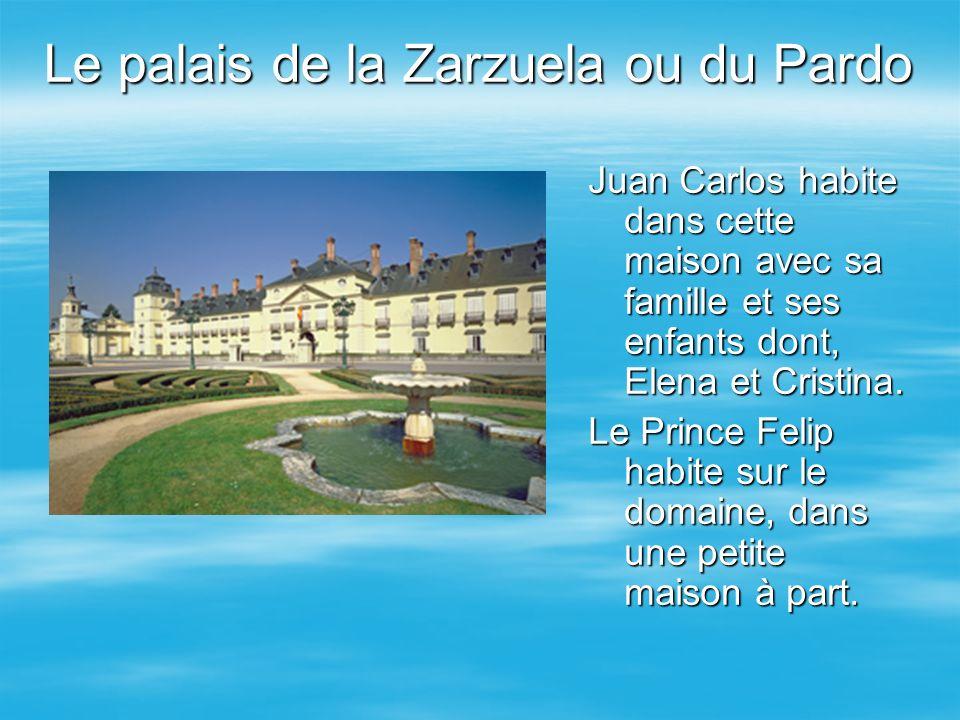 Le palais de la Zarzuela ou du Pardo Juan Carlos habite dans cette maison avec sa famille et ses enfants dont, Elena et Cristina. Le Prince Felip habi