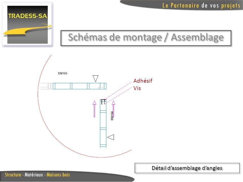 Schémas de montage / Assemblage Détail dassemblage dangles Adhésif Vis