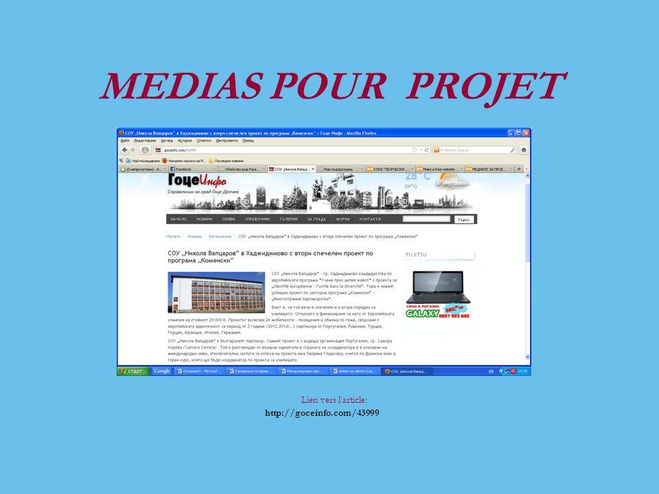 MEDIAS POUR PROJET Lien vers l article: http://goceinfo.com/43999