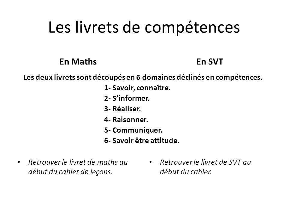 Les livrets de compétences En Maths Retrouver le livret de maths au début du cahier de leçons.
