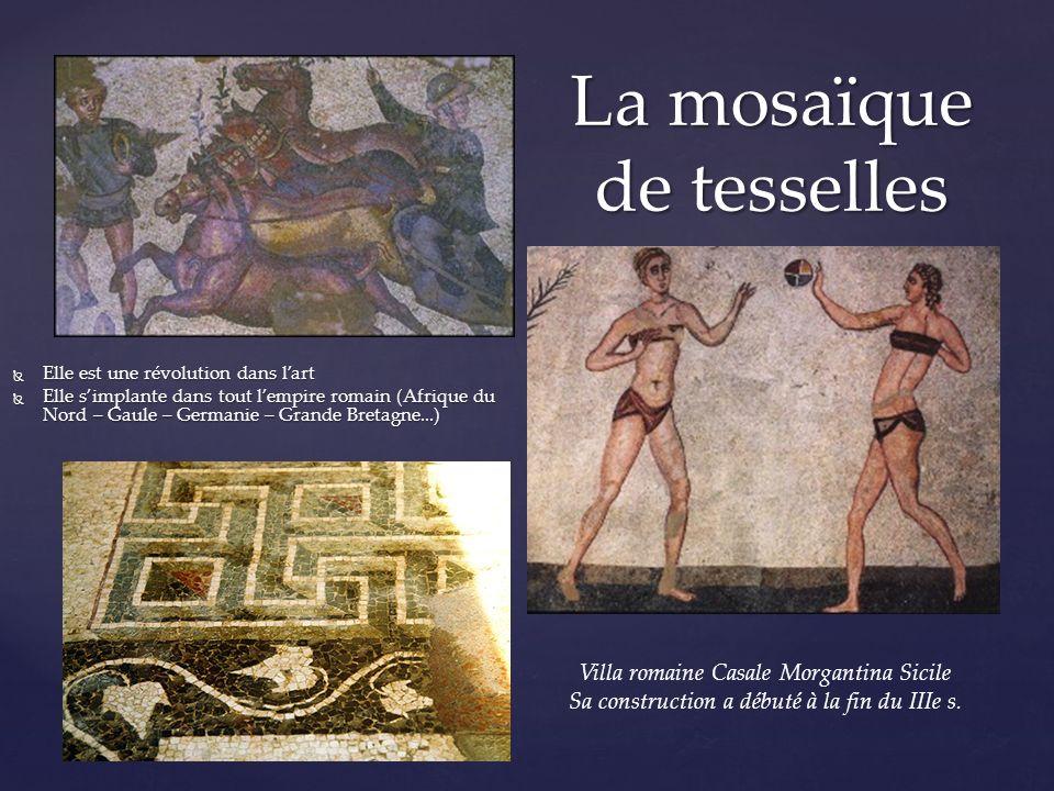 Lart d la mosaïque se divise en deux parties : Lart d la mosaïque se divise en deux parties : La mosaïque de pavement : Elle est la plus ancienne – tr