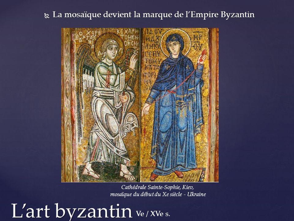 Avec lavènement du christianisme, la mosaïque Avec lavènement du christianisme, la mosaïque se met au service de la foi chrétienne. Lart paléochrétien