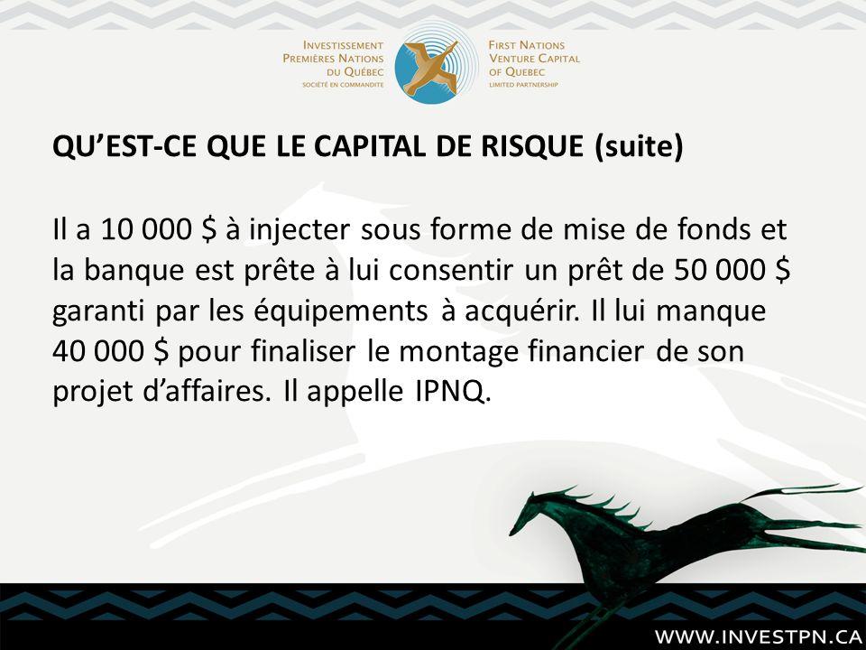 QUEST-CE QUE LE CAPITAL DE RISQUE (suite) Il a 10 000 $ à injecter sous forme de mise de fonds et la banque est prête à lui consentir un prêt de 50 00