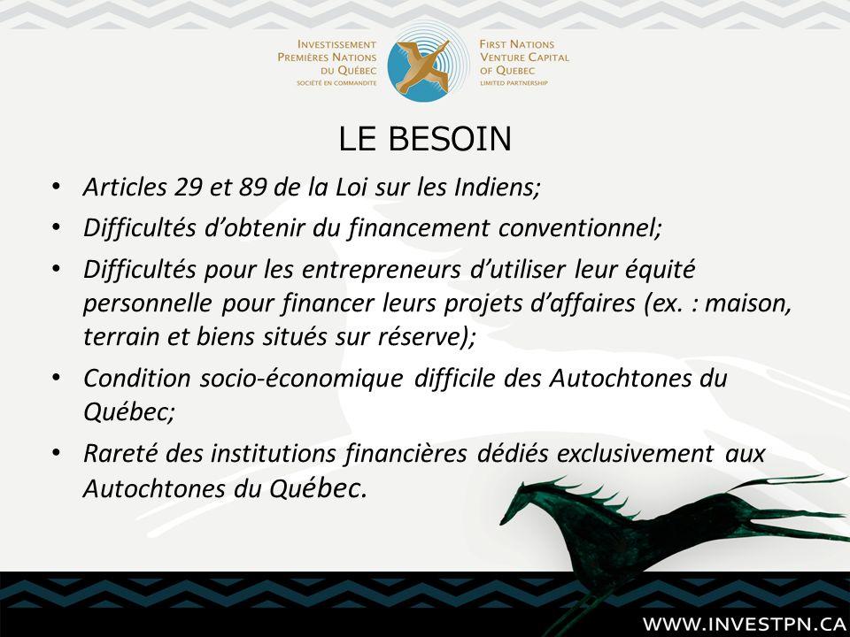 LE BESOIN Articles 29 et 89 de la Loi sur les Indiens; Difficultés dobtenir du financement conventionnel; Difficultés pour les entrepreneurs dutiliser