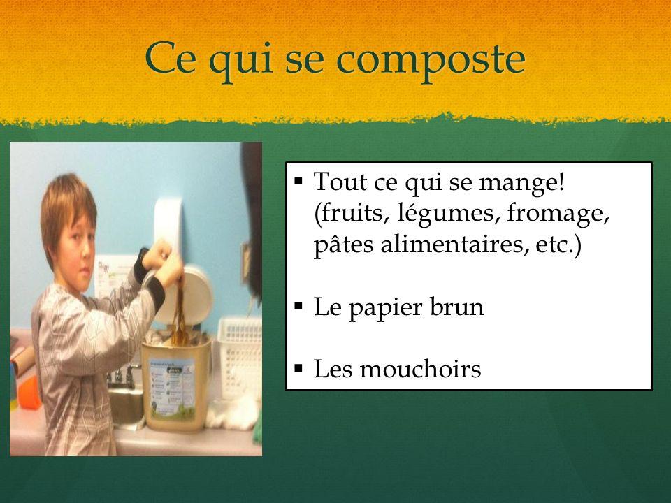 Ce qui se composte Tout ce qui se mange! (fruits, légumes, fromage, pâtes alimentaires, etc.) Le papier brun Les mouchoirs