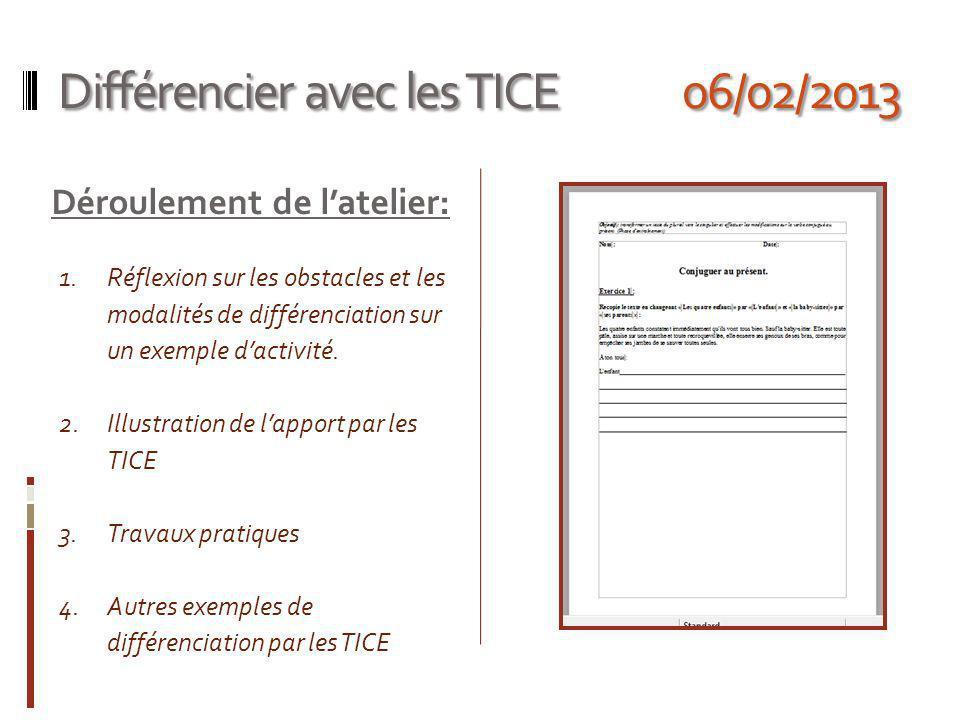 Différencier avec les TICE 06/02/2013 Déroulement de latelier: 1.Réflexion sur les obstacles et les modalités de différenciation sur un exemple dactivité.