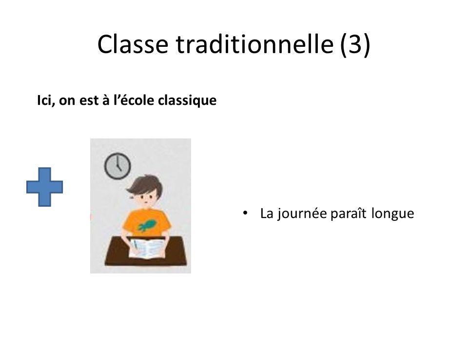 Classe traditionnelle (3) Ici, on est à lécole classique La journée paraît longue