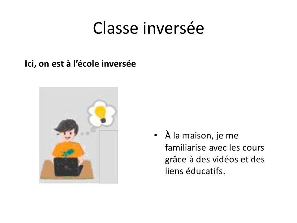Classe inversée Ici, on est à lécole inversée À la maison, je me familiarise avec les cours grâce à des vidéos et des liens éducatifs.