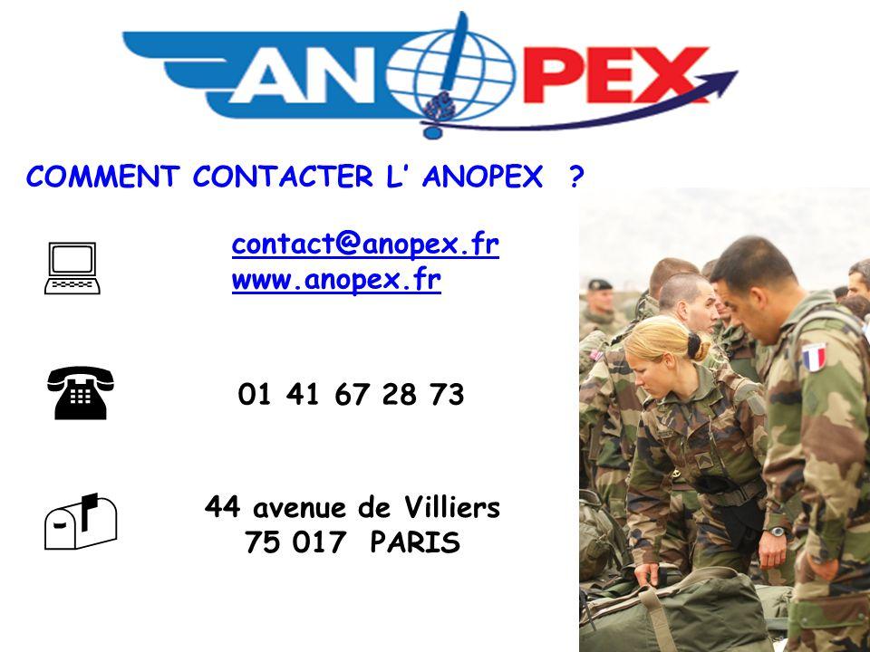 COMMENT CONTACTER L ANOPEX ? 44 avenue de Villiers 75 017 PARIS 01 41 67 28 73 contact@anopex.fr www.anopex.fr