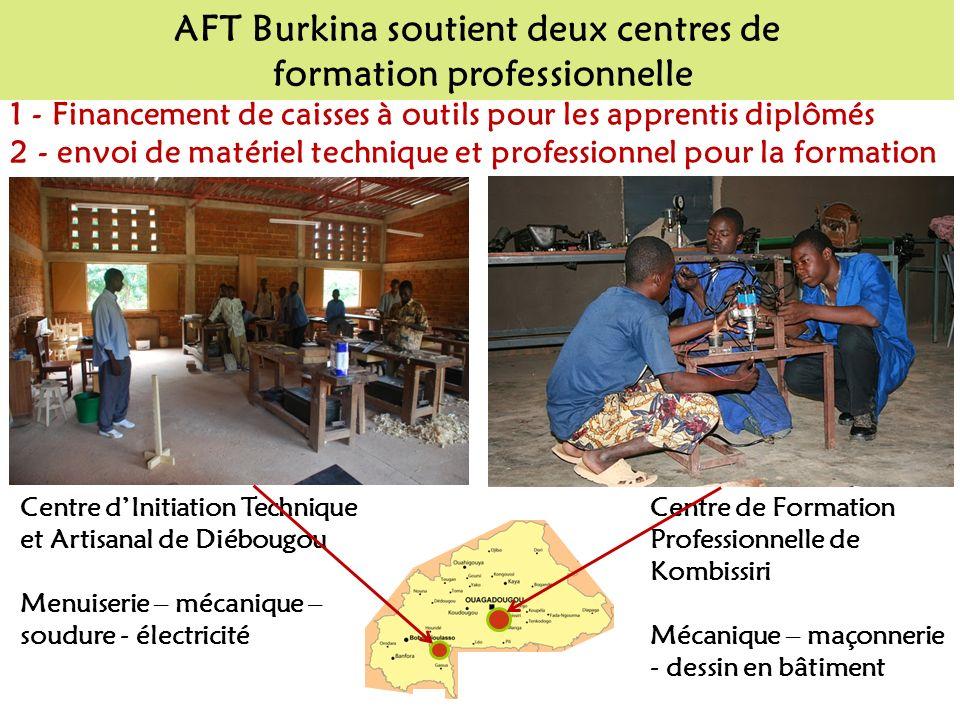 AFT Burkina soutient deux centres de formation professionnelle Centre dInitiation Technique et Artisanal de Diébougou Menuiserie – mécanique – soudure - électricité 1 - Financement de caisses à outils pour les apprentis diplômés 2 - envoi de matériel technique et professionnel pour la formation Centre de Formation Professionnelle de Kombissiri Mécanique – maçonnerie - dessin en bâtiment