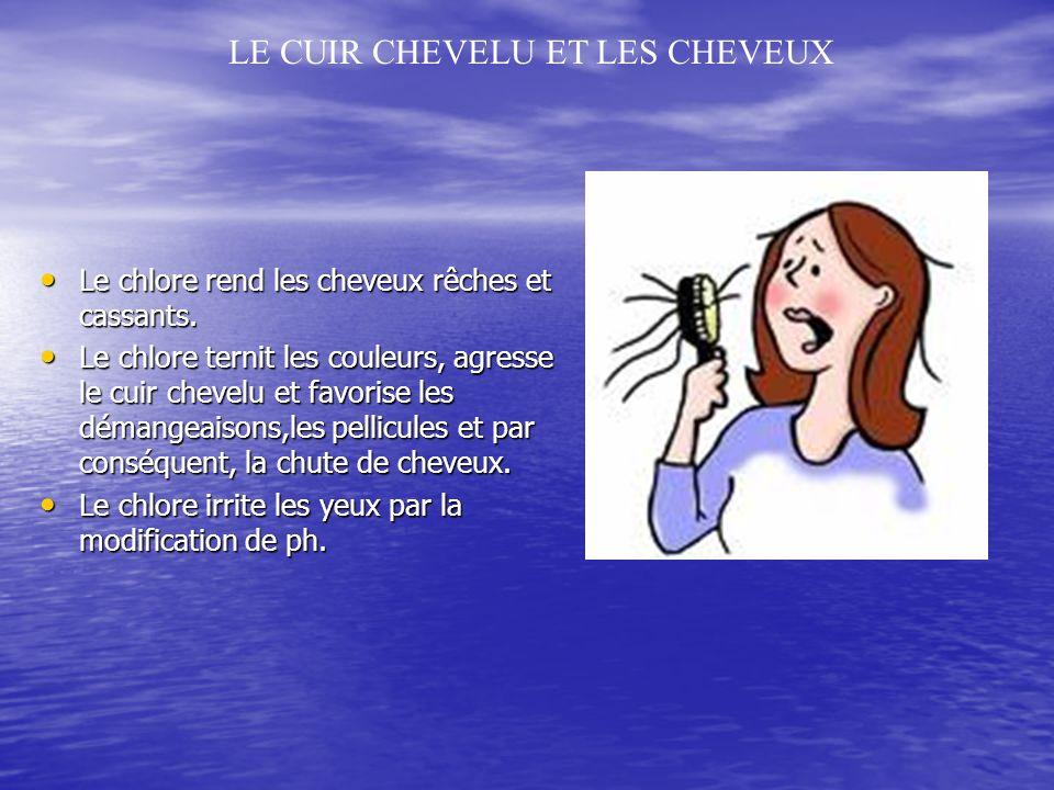 Le chlore rend les cheveux rêches et cassants.Le chlore rend les cheveux rêches et cassants.