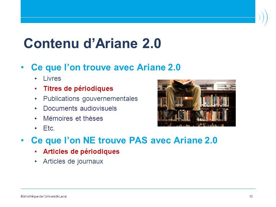 Contenu dAriane 2.0 Ce que lon trouve avec Ariane 2.0 Livres Titres de périodiques Publications gouvernementales Documents audiovisuels Mémoires et thèses Etc.