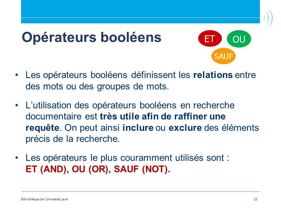 23 Opérateurs booléens Les opérateurs booléens définissent les relations entre des mots ou des groupes de mots.