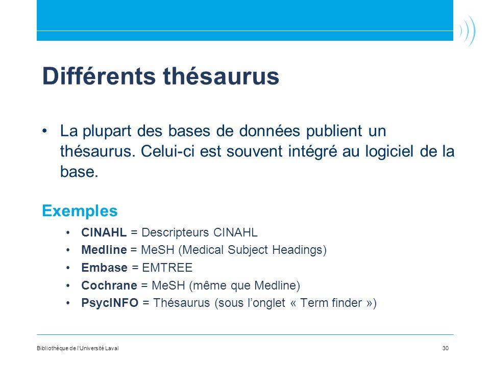 Différents thésaurus La plupart des bases de données publient un thésaurus. Celui-ci est souvent intégré au logiciel de la base. Exemples CINAHL = Des