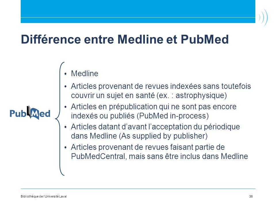 Différence entre Medline et PubMed Medline Articles provenant de revues indexées sans toutefois couvrir un sujet en santé (ex. : astrophysique) Articl
