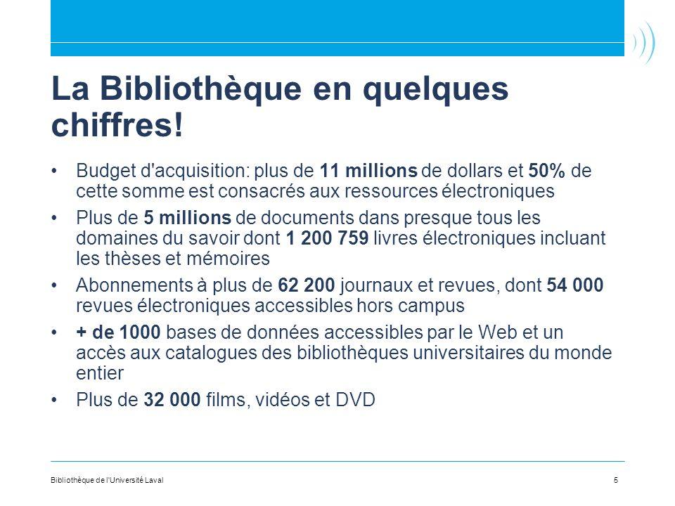 La Bibliothèque en quelques chiffres! Budget d'acquisition: plus de 11 millions de dollars et 50% de cette somme est consacrés aux ressources électron