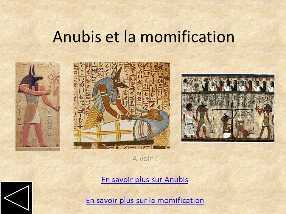 Anubis et la momification A voir : En savoir plus sur Anubis En savoir plus sur la momification En savoir plus sur Anubis En savoir plus sur la momification
