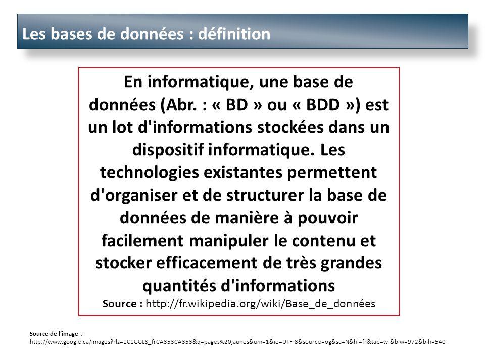 Les bases de données : définition En informatique, une base de données (Abr.