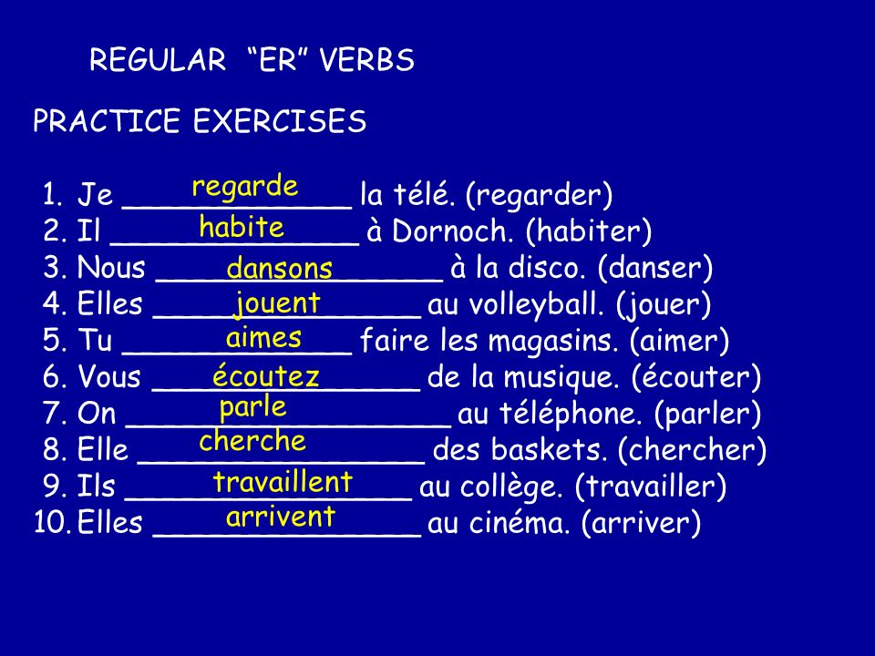 Some common ER verbs Copy and match up 1.travailler – 2.porter – 3.penser - 4.chanter - 5.ranger - 6.laver – 7.oublier – 8.trouver - 9.chercher - 10.se presenter - a)to forget b)to sing c)to introduce d)to find e)to wash f)to look for g)to tidy h)to work i)to wear j)to think h)to work i)to wear j)to think b)to sing g)to tidy e)to wash a)to forget d)to find f)to look for c)to introduce