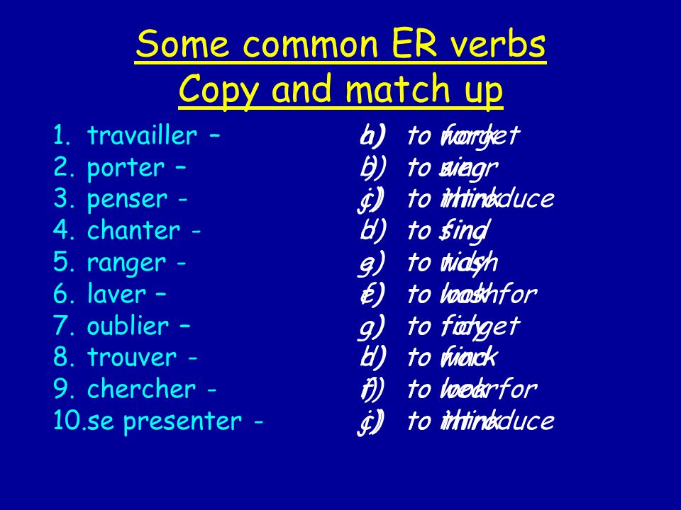 The second group of verbs are RE verbs.