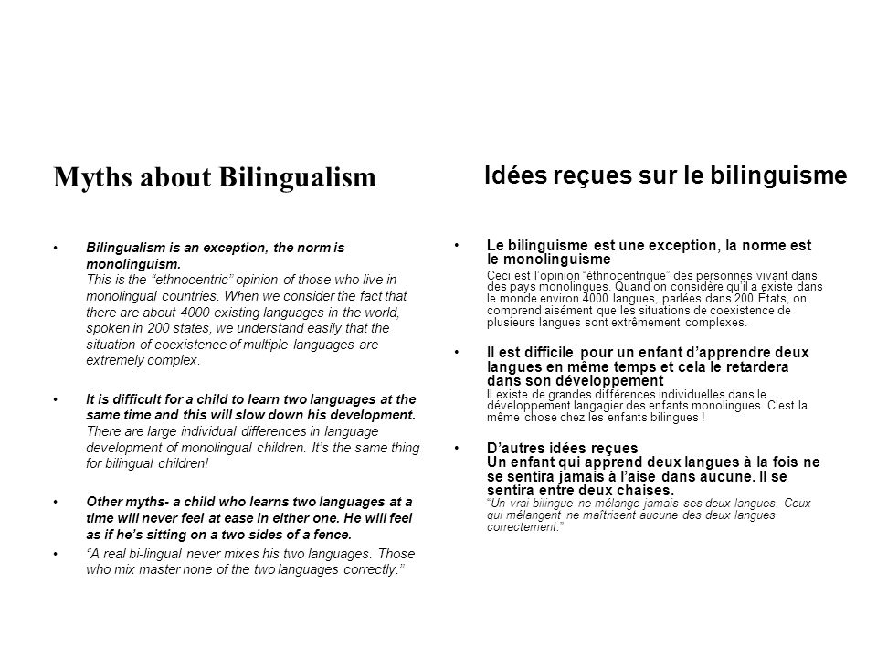 Myths about Bilingualism Bilingualism is an exception, the norm is monolinguism.