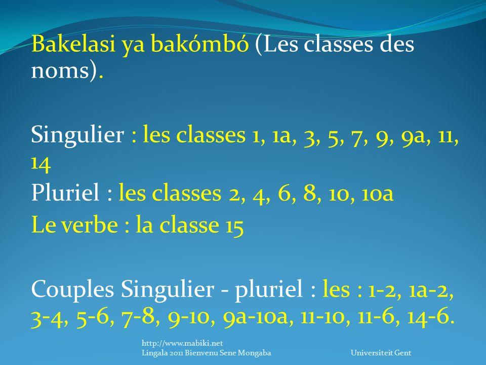 Bakelasi ya bakómbó (Les classes des noms).
