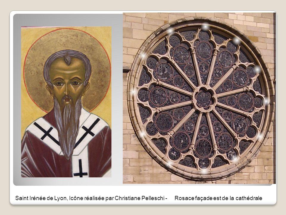 Saint Irénée de Lyon, Icône réalisée par Christiane Pelleschi - Rosace façade est de la cathédrale