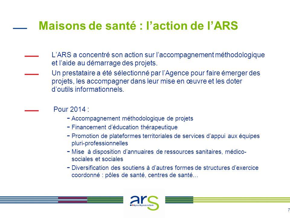 7 Maisons de santé : laction de lARS LARS a concentré son action sur laccompagnement méthodologique et laide au démarrage des projets. Un prestataire