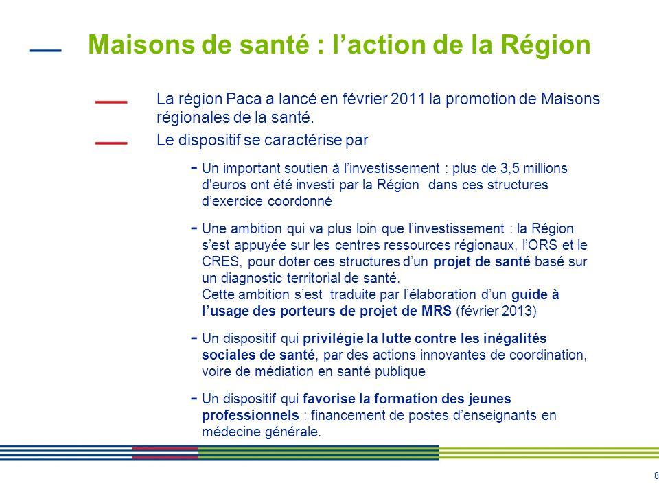 8 Maisons de santé : laction de la Région La région Paca a lancé en février 2011 la promotion de Maisons régionales de la santé. Le dispositif se cara