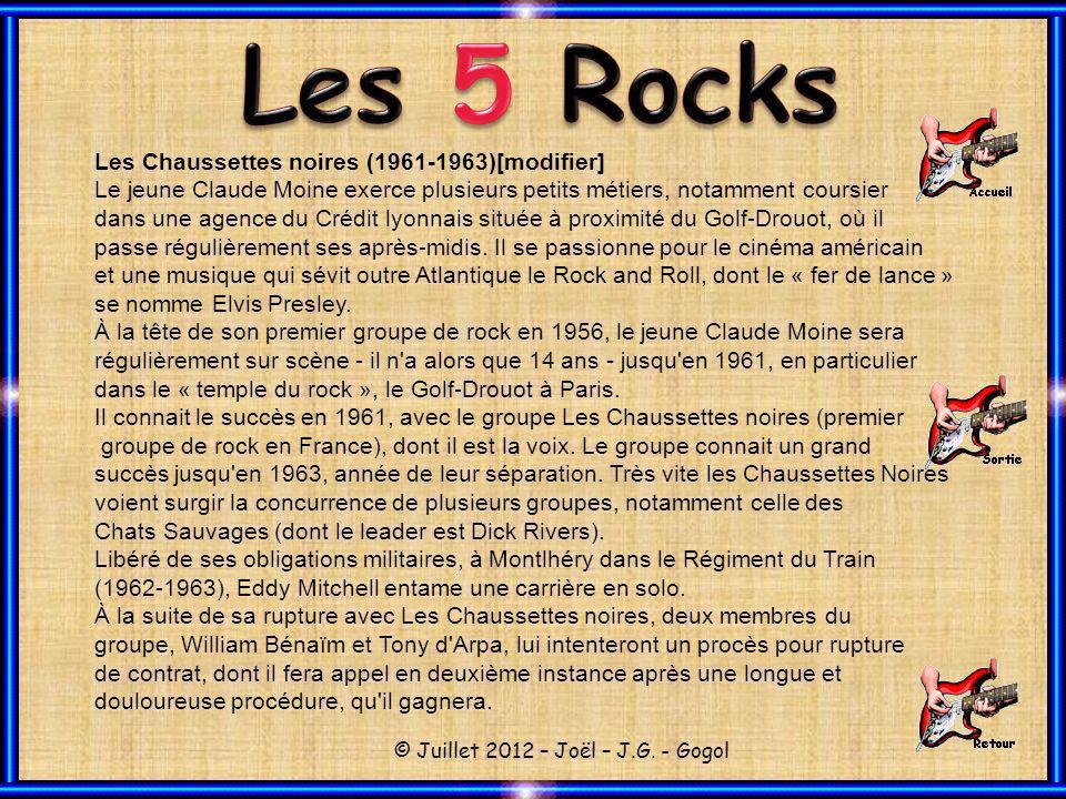 Les Chaussettes noires (1961-1963)[modifier] Le jeune Claude Moine exerce plusieurs petits métiers, notamment coursier dans une agence du Crédit lyonnais située à proximité du Golf-Drouot, où il passe régulièrement ses après-midis.