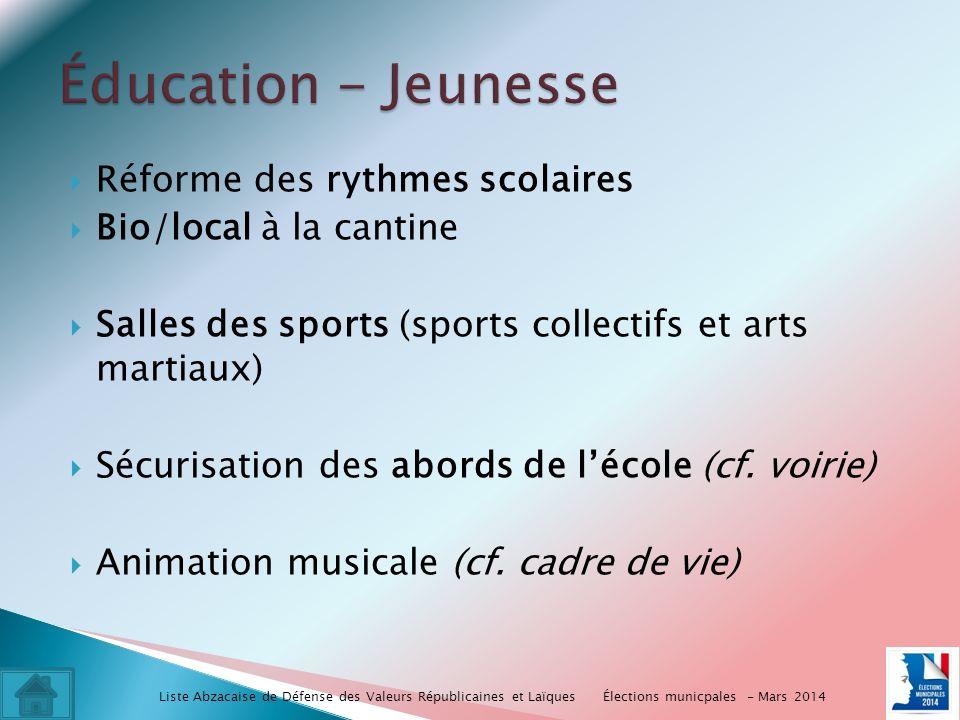 Réforme des rythmes scolaires Bio/local à la cantine Salles des sports (sports collectifs et arts martiaux) Sécurisation des abords de lécole (cf.