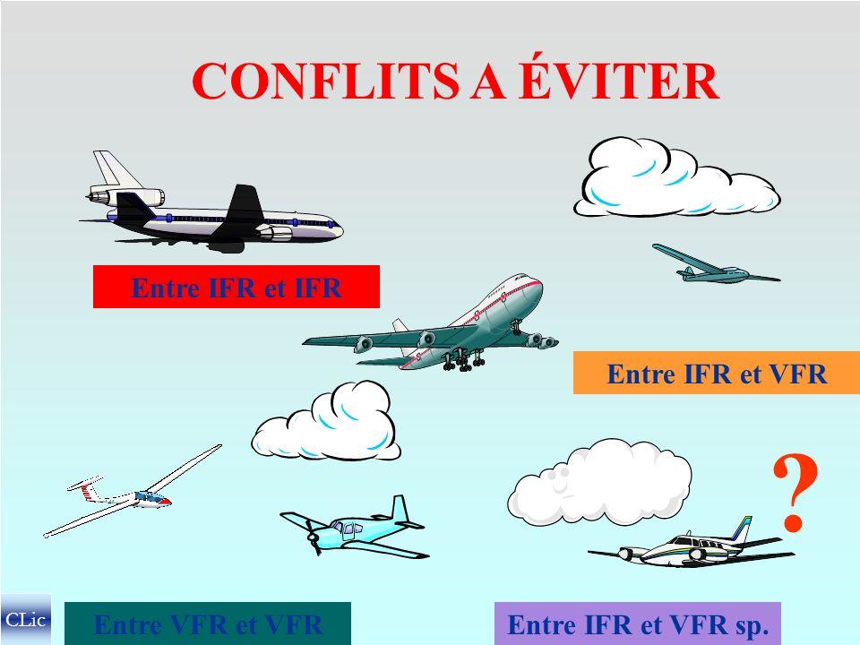 NATURE DES TRAFICS A SÉPARER en IMCen VMC des vols IFR des vols VFR sp. (En CTR et S/CTR) des vols IFR des vols VFR CLic