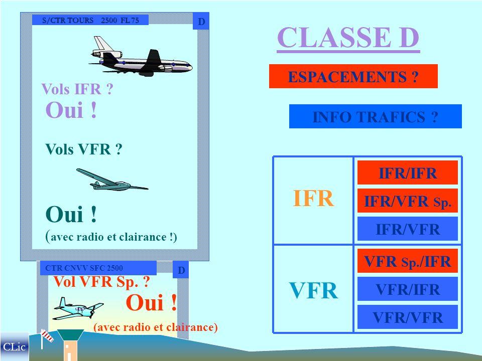MONFORT 2500 FL 75 CLASSE C C ESPACEMENTS ? INFO TRAFIC ? Vols IFR ? Vols VFR ? Oui ! ( avec radio et clairance !) IFR VFR IFR/IFR IFR/VFR VFR/IFR VFR