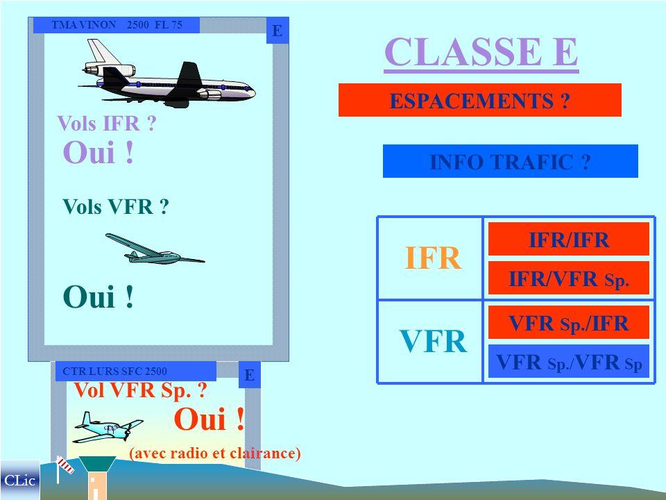 MONFORT 2500 FL 75 CLASSE D D ESPACEMENTS ? INFO TRAFICS ? Vols IFR ? Vols VFR ? Oui ! ( avec radio et clairance !) IFR VFR IFR/IFR IFR/VFR Sp. VFR/IF