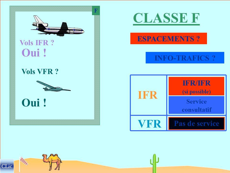 À partir de la classe F … … les espaces ne sont PAS CONTROLÉS. CLic