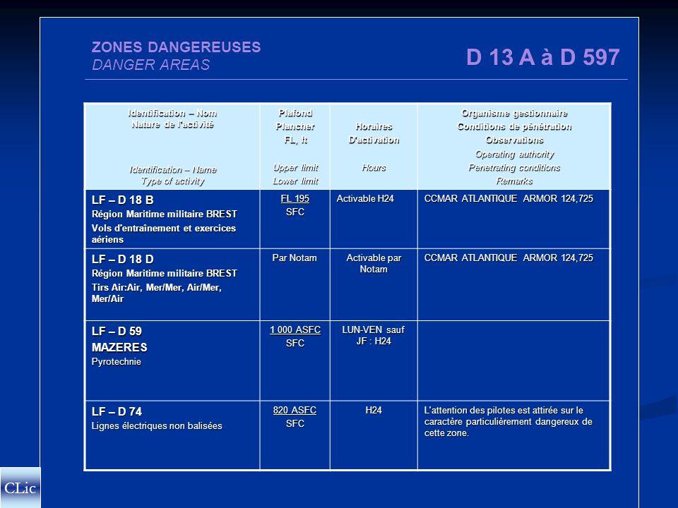 D ZONES DANGEREUSES Pénétration non soumise à restriction D Mais danger pour les aéronefs CLic