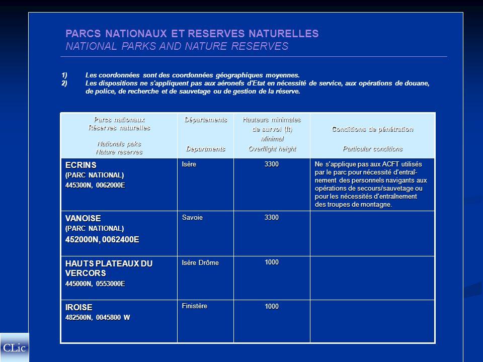 PARCS NATIONAUX ET REGIONAUX CLic