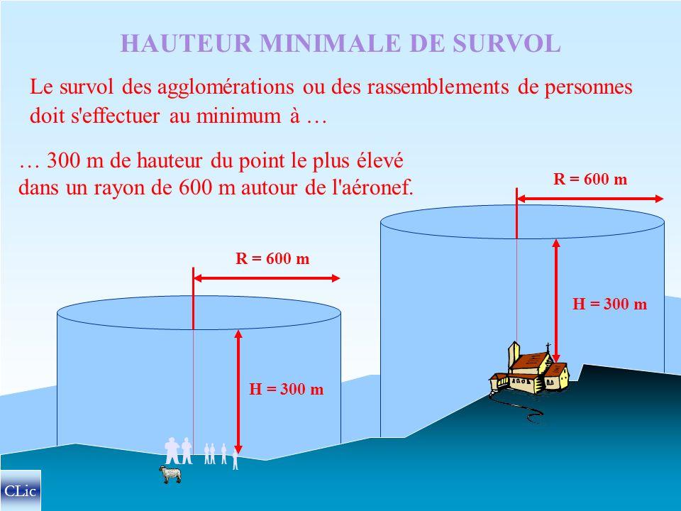 …la hauteur doit rester suffisante pour atteindre une zone atterrissable… …sans mettre en danger les personnes ou les biens. Lors du survol des villes