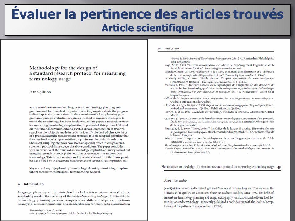 Évaluer la pertinence des articles trouvés Article scientifique